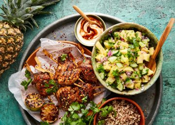 Pineapple Salsa and Jerk Chicken